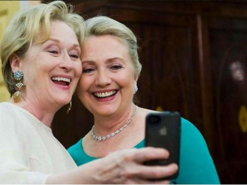 Selfie de Meryl Streep e Hillary Clinton