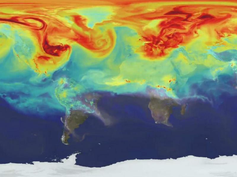 NASA mostra efeitos do dióxido de carbono no hemisfério norte (Foto: reprodução YouTube)