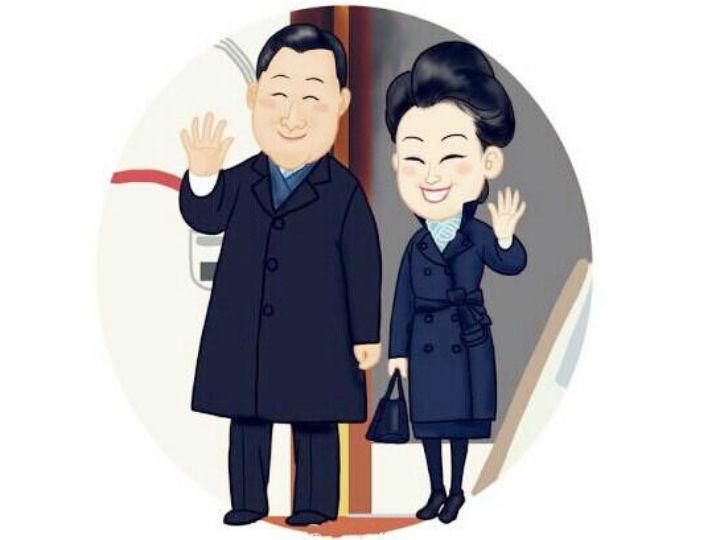 Imagem do videoclip sobre o Presidente chinês e a mulher