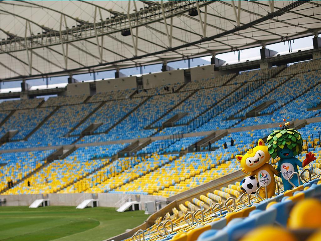 Mascotes do Rio 2016 foram ao Maracanã (Reuters)