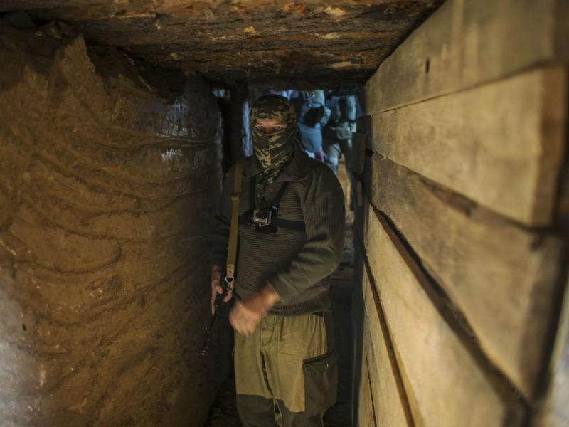 Bunker na cidade de Yasynuvata, Ucrânia (REUTERS/Marko Djurica)