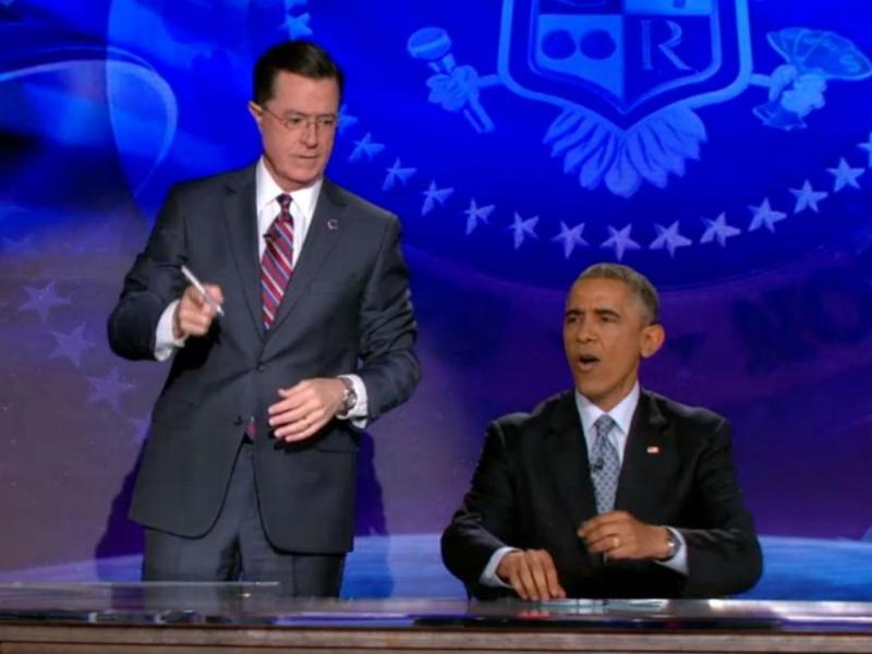 Obama no programa de Stephen Colbert (reprodução)