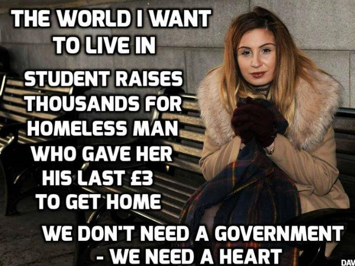 Jovem ajuda sem-abrigo (facebook)