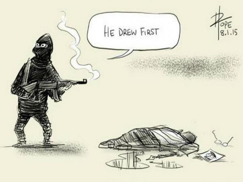 Cartoon de David Pope em reação ao atentado ao «Charlie Hebdo» (Reprodução/Twiiter)