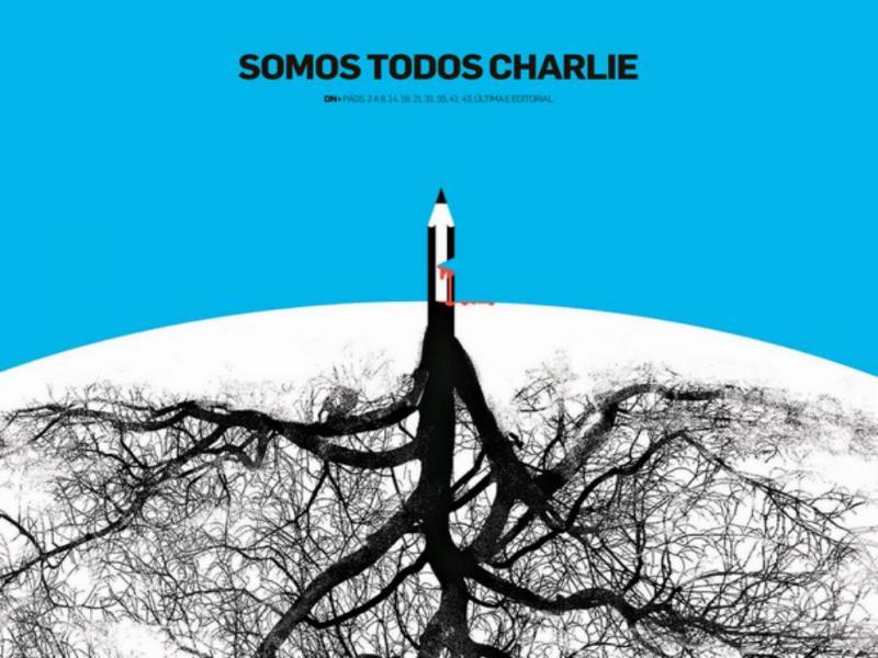 Ilustração de André Carrilho «Somos todos Charlie» para o «Diário de Notícias» (Reprodução)