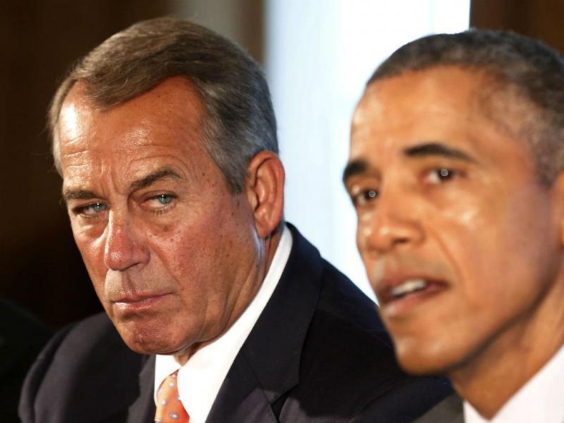 John Boehner, líder da Câmara dos Representantes dos EUA, e o presidente Barack Obama (REUTERS)