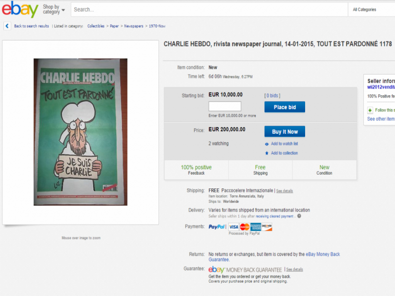 «Charlie Hebdo» já vale 200 mil euros no eBay (Reprodução)