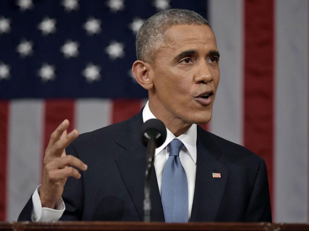 Barack Obama no discurso sobre o estado da União (EPA)