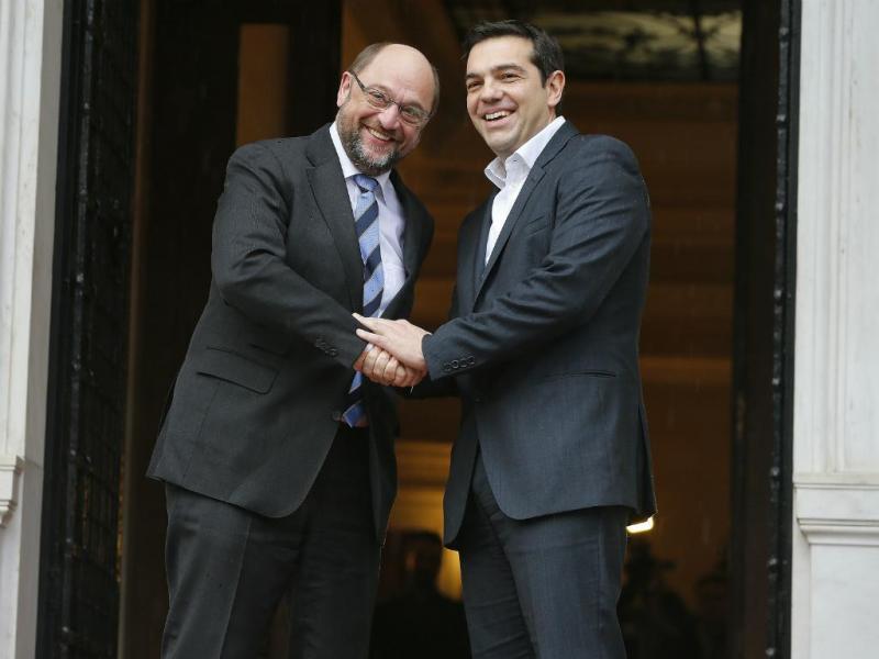 Martin Schulz (e) e Alexis Tsipras (d)