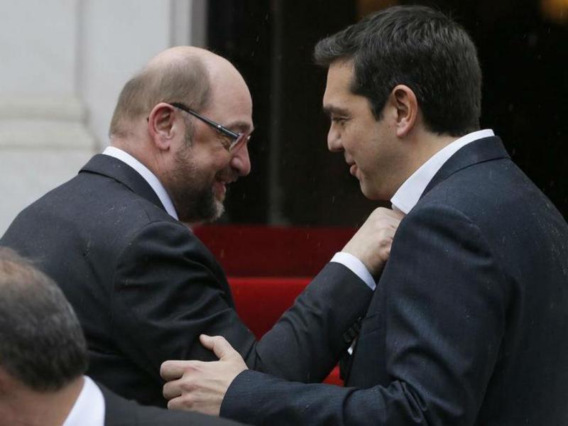 Martin Schulz e Alexis Tsipras [Foto: Reuters]