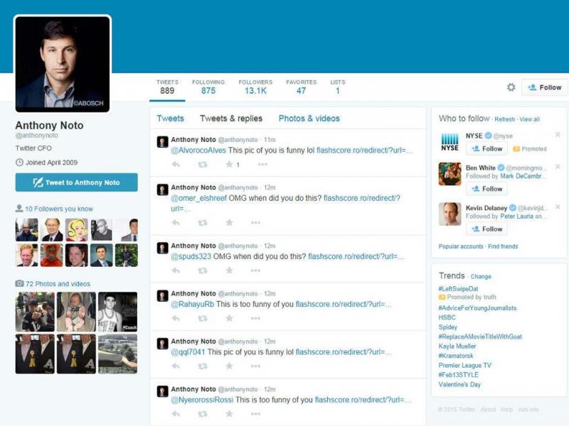 Perfil do Diretor Financeiro do Twitter foi piateado (Twitter)