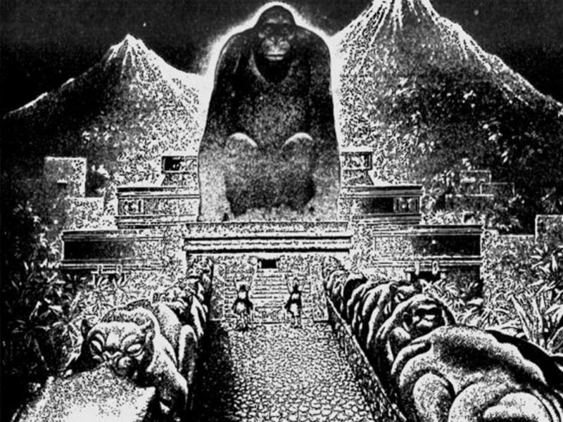 «Cidade do Deus Macaco» (Ilustração de Virgil Finlay para a