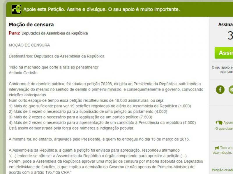 Petição pede moção de censura contra o Governo (DR)