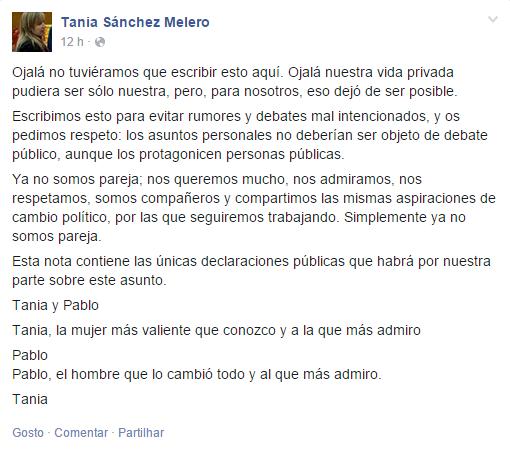 Publicação no Facebook de Tania Sánchez sobre o final da relação com Pablo Iglesias