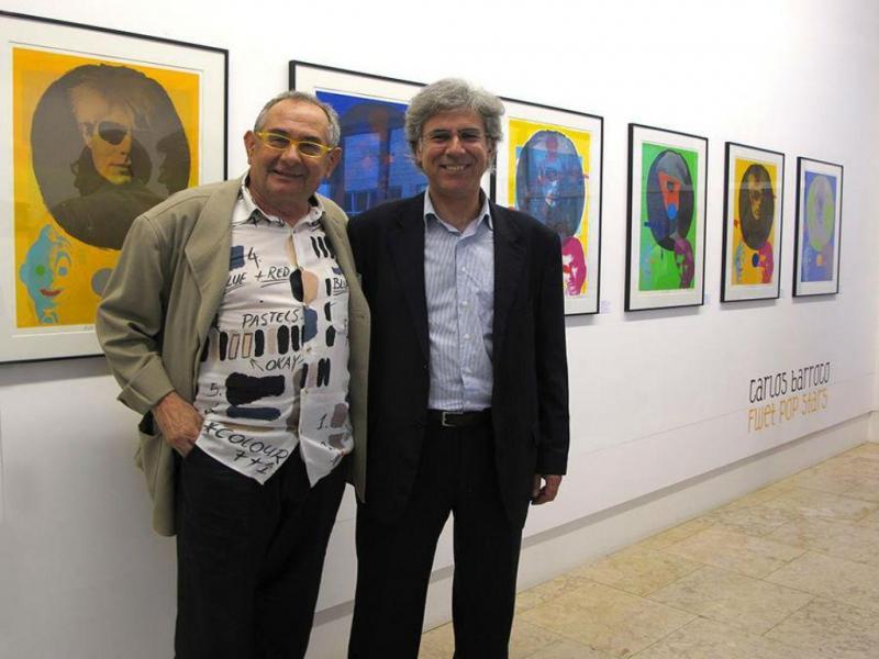 Carlos Barroco com João Prates na inauguração da exposição «FWET Pop Stars», CCB, Maio de 2011 [Facebook: CPS - Centro Português de Serigrafia]