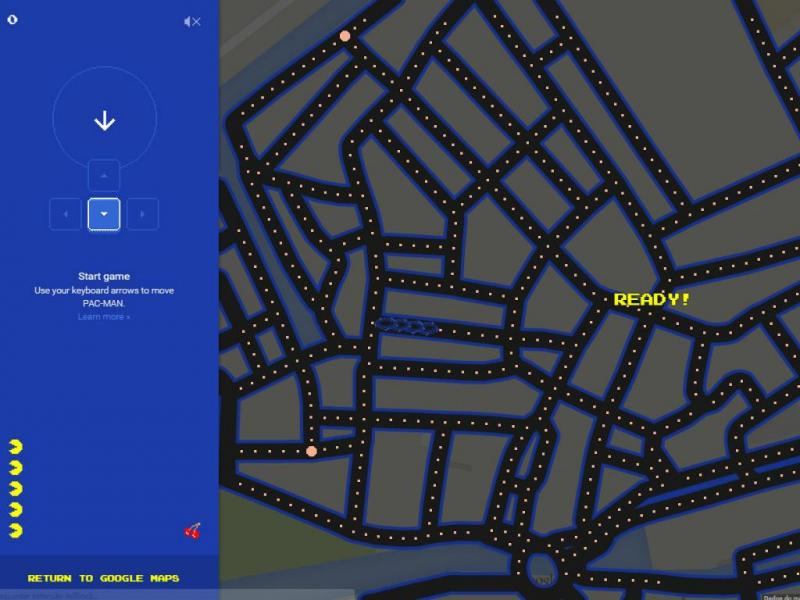 Pac Man no Google Maps