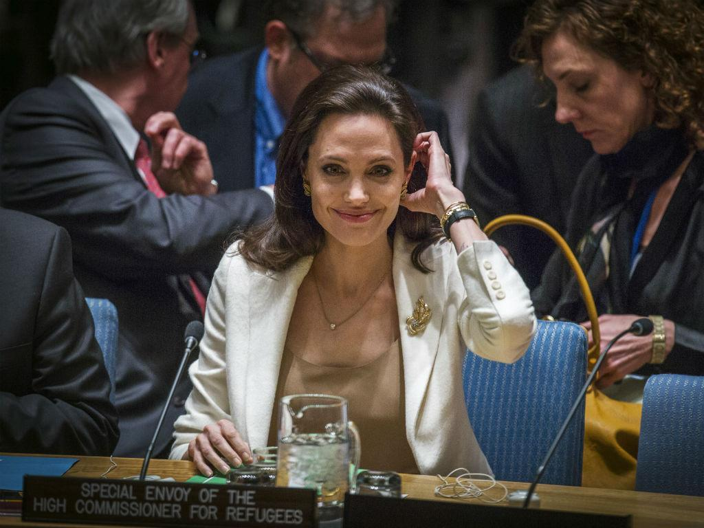 António Guterres e Angelina Jolie no Conselho de Segurança da ONU, em Nova Iorque, EUA (REUTERS)