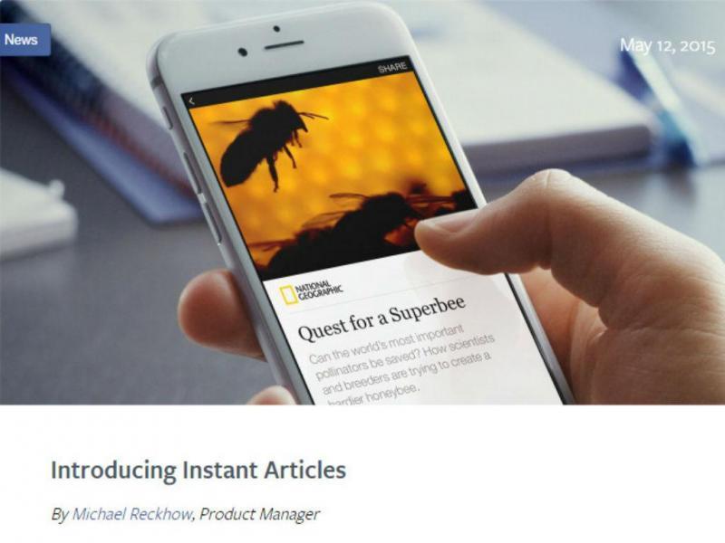 """Facebook lança """"Instant Articles"""" (Reprodução)"""