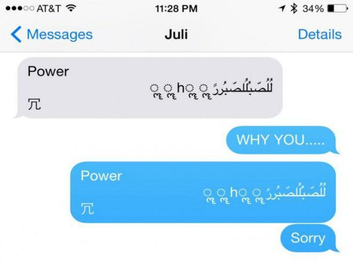 Mensagem escrita provoca avaria no iPhone