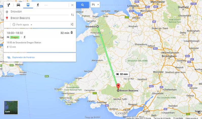 Dragão: opção de transporte do Google Maps