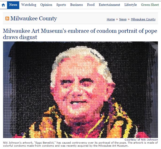 Retrato de Bento XVI feito com preservativos