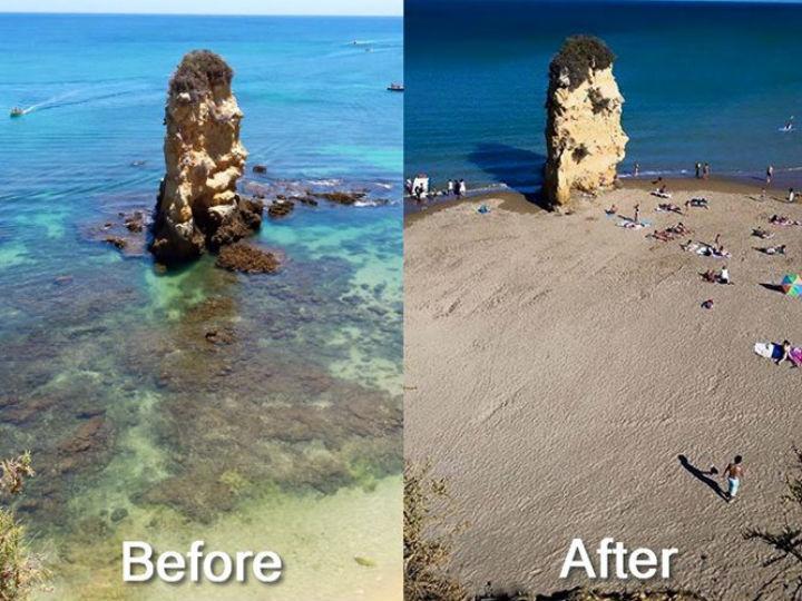 Praia Dona Ana - antes e depois (Reprodução Facebook)
