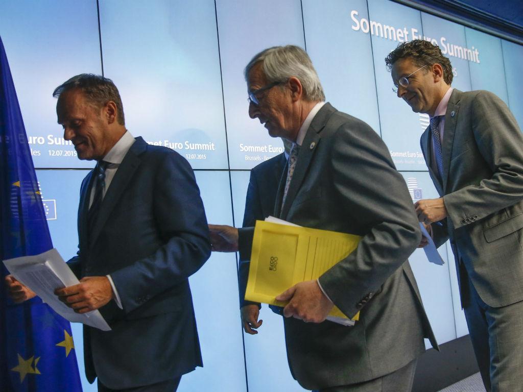 Jean-Claude Juncker, Donald Tusk e Jeroen Dijsselbloem [EPA]