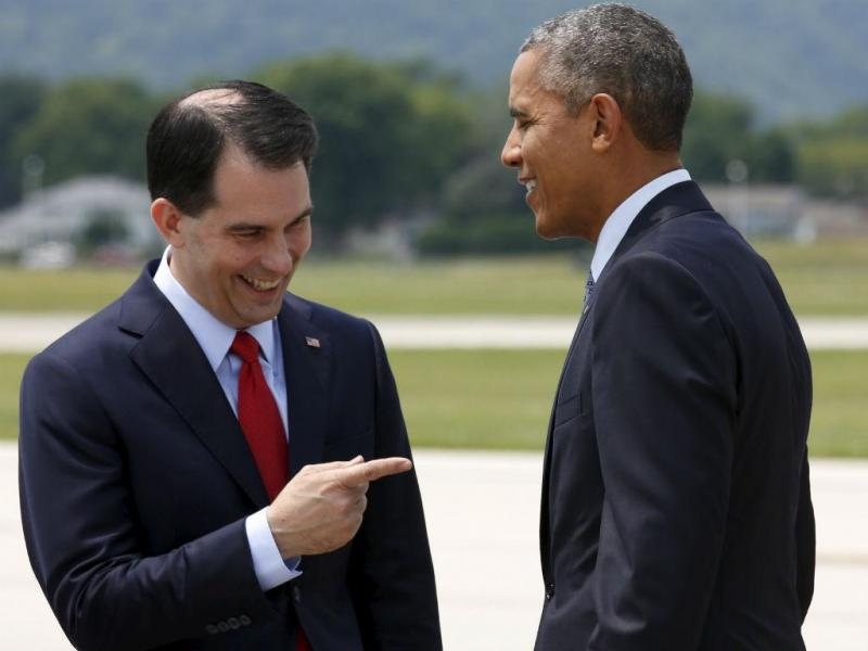 Scott Walker com Barack Obama (REUTERS)