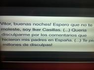 Mensagem de Casillas para Vítor Baía