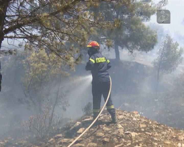 Incêndio florestal às portas de Atenas