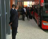A saída do Benfica rumo ao Estádio do Algarve