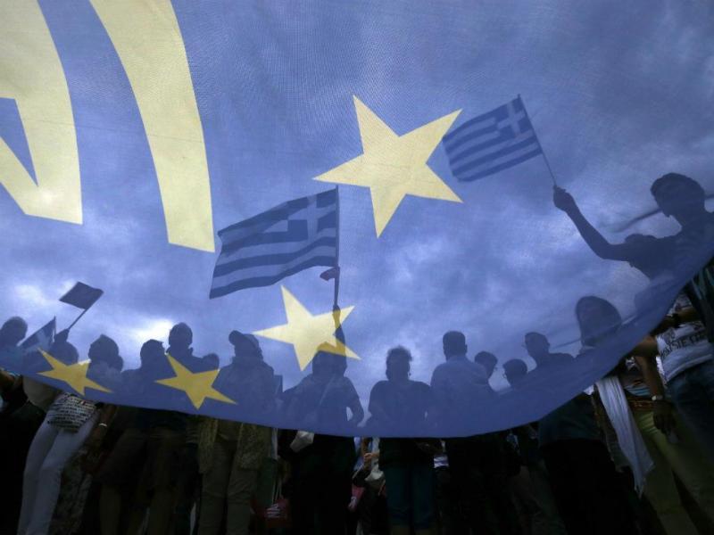 Manifestação pro-Europa, em Atenas, na Grécia [Fonte: REUTERS/Yannis Behrakis]