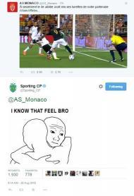 Twitter do Sporting solidário com o Mónaco