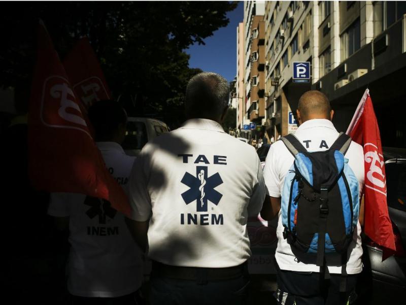 Trabalhadores do INEM em protesto