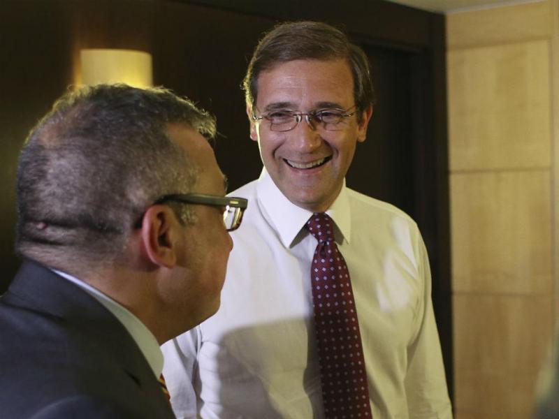 Passos  Coelho após divulgação das projeções que dão vitória à PAF (Lusa)