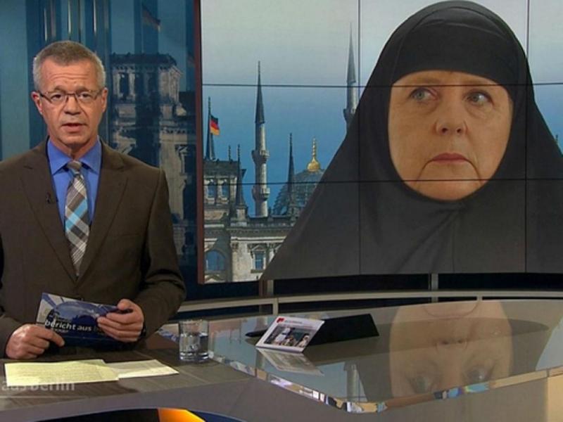 Merkel com véu islâmico causa escândalo (Reprodução ARD)