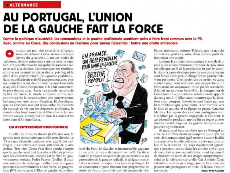 Charlie Hebdo elogia António Costa e acordo à esquerda