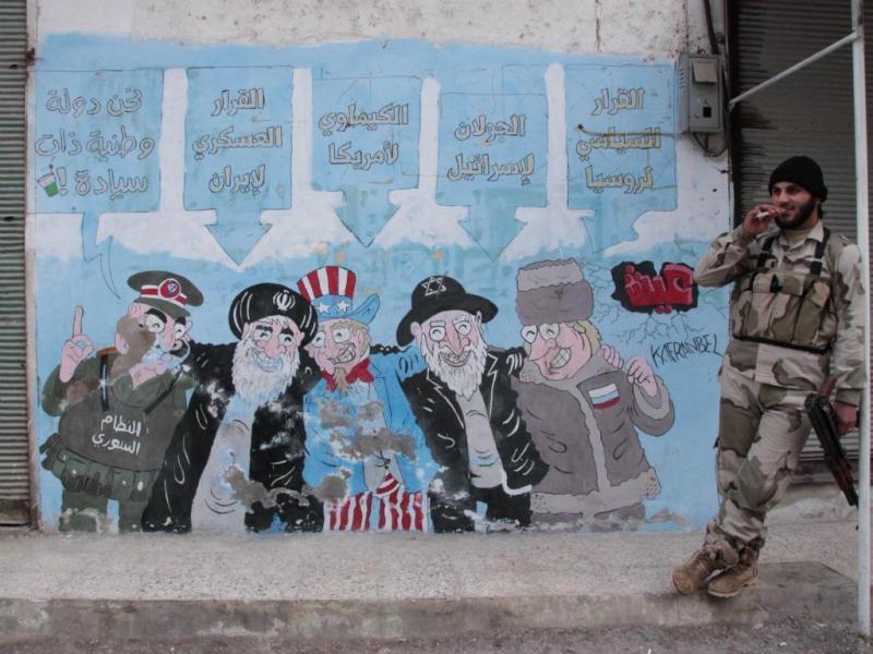 Mural contra o regime de Bashar al-Assad em Kafranbel, Síria