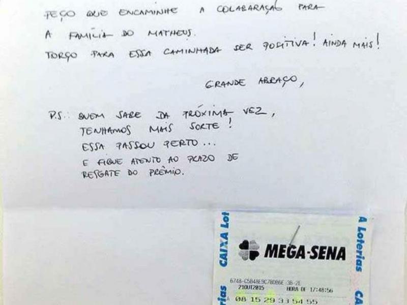 Ganhou a lotaria e doou bilhete a menino doente (Reprodução Twitter)