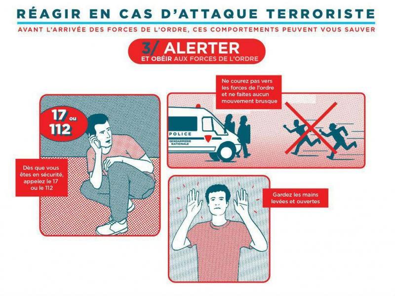 Instruções sobre como reagir a um ataque terrorista