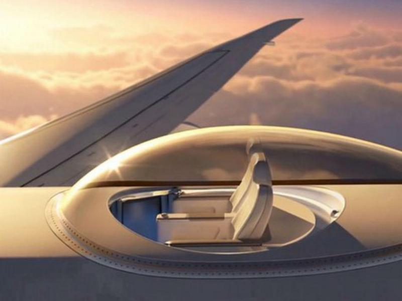 Skydeck dá aos passageiros uma visão de 360 graus durante o voo (Reprodução Twitter)