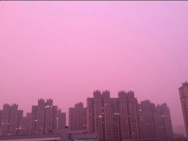 Nuvem de poluição torna-se roxa em Nanquim
