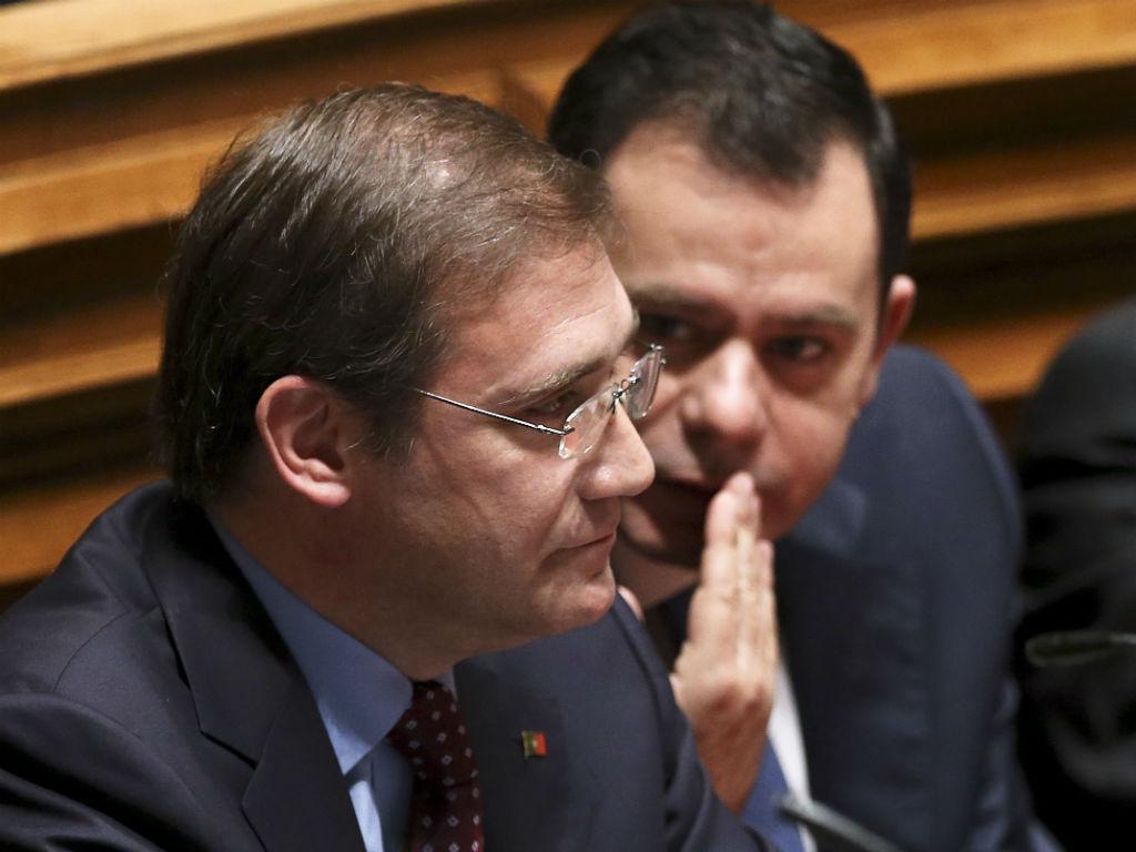 Pedro Passos Coelho, presidente do PSD, e o líder parlamentar do partido, Luís Montenegro