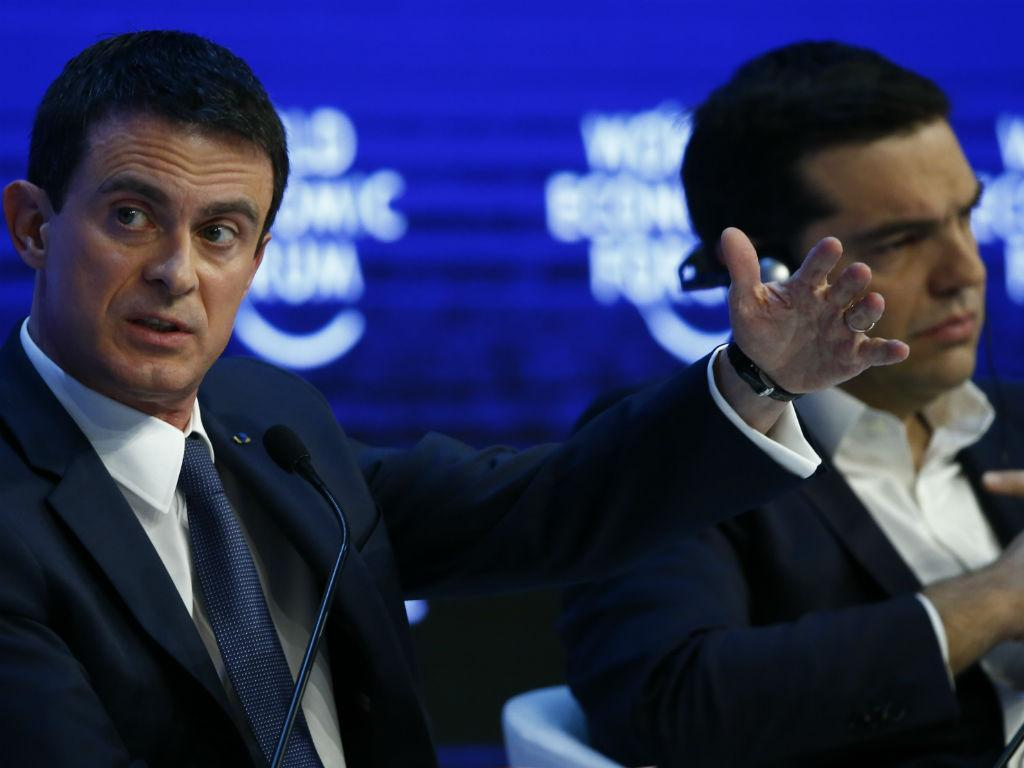 Manuel Valls e Alexis Tsipras em Davos