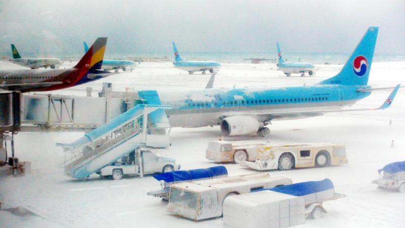 Aeroporto de Jeju após tempestade de neve