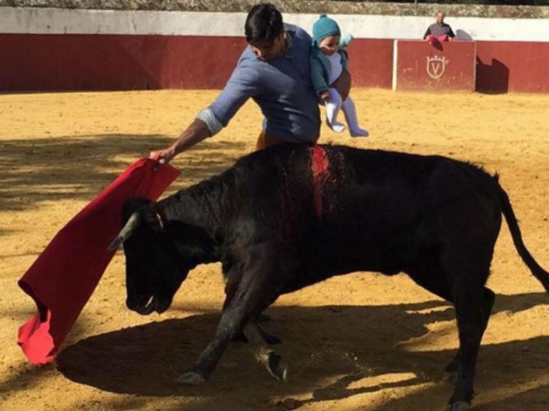 Enfrenta um touro com a filha ao colo