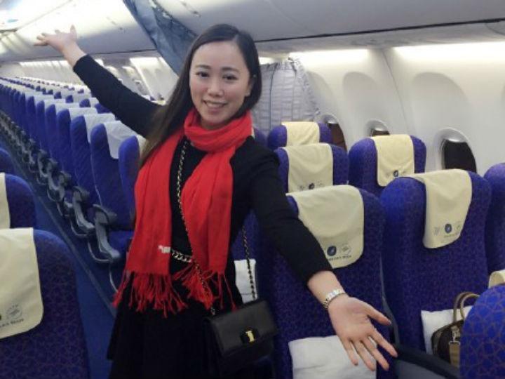 Chinesa viaja sozinha em avião