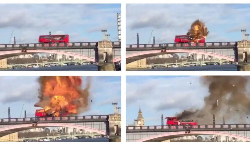 Autocarro explode em Londres, por causa de um filme