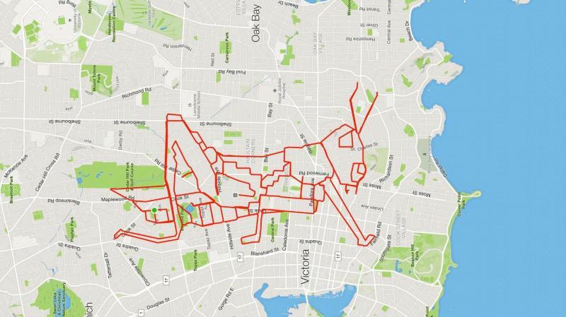 Ciclista cria desenhos no mapa usando o GPS