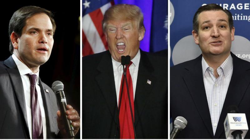 Marco Rubio, Donald Trump e Ted Cruz (Fonte: Reuters)